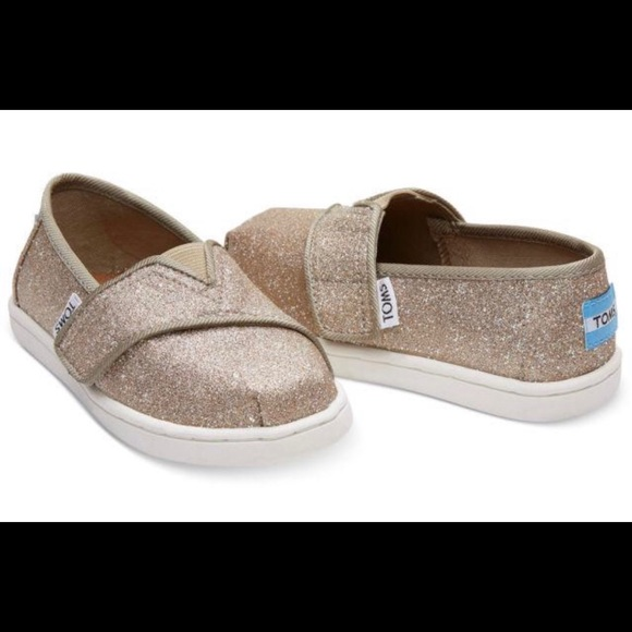 3e0431ef5cb TOMS Rose Gold Glimmer Toddler Shoes Size 6T NIB